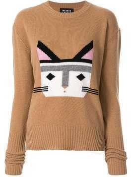 Markus Lupfer cat face intarsia jumper - Brown