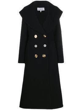 Loewe contrasting buttons double-breasted coat - Black