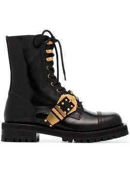 Versace Studded Belt Leather Brogued Boots - Black