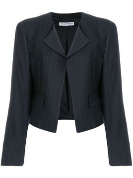 Giorgio Armani Pre-Owned pinstripe cropped jacket - Black