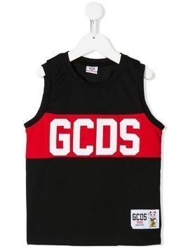 Gcds Kids sleeveless mesh logo print tank top - Black