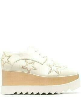 Stella McCartney Elyse star-embroidered platform shoes - Neutrals