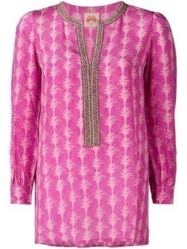 Le Sirenuse embroidered detailed tunic top - Purple