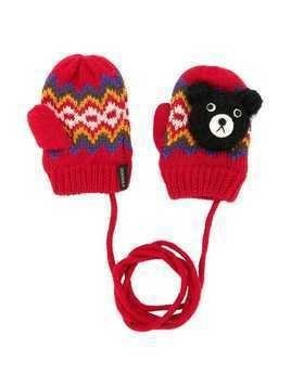 Miki House teddy bear mittens - Red