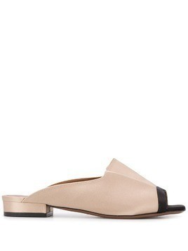 L'Autre Chose two-tone peep-toe slides - Neutrals