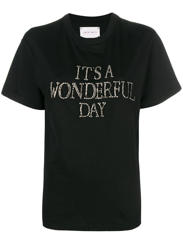 Alberta Ferretti slogan embroidered T-shirt - Black