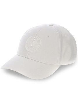 Stone Island embroidered logo baseball cap - White