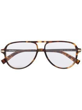 Salvatore Ferragamo aviator frame glasses - Brown