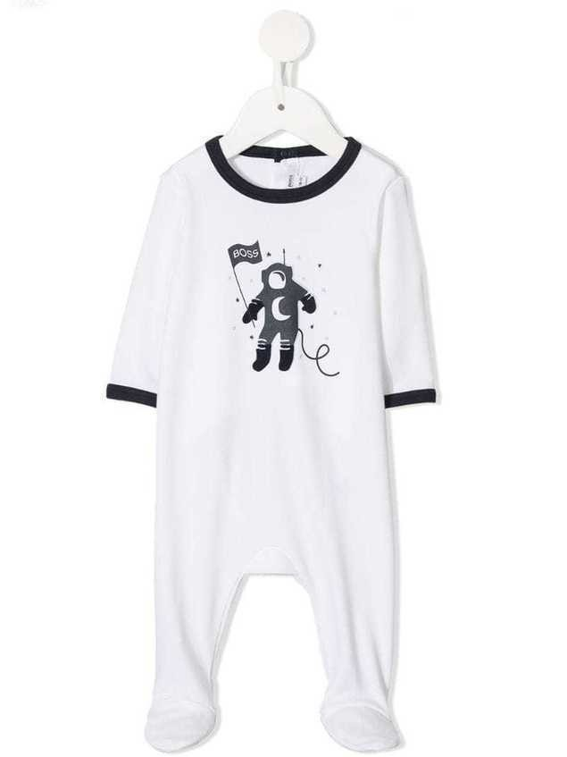 Boss Kids cotton spaceman romper - White