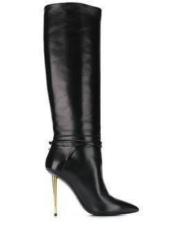 Tom Ford contrast stiletto heel 120mm boots - Black