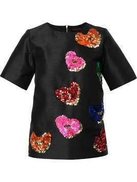 Manish Arora sequin-embellished heart T-shirt - Black
