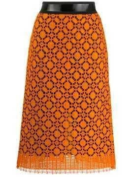 Dorothee Schumacher Adventurous lace pencil skirt - Orange