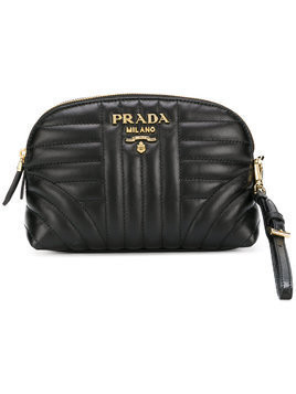Prada quilted zip around make-up bag - Black