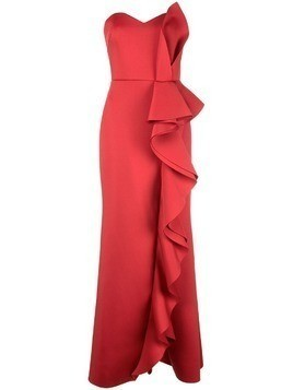 Badgley Mischka ruffle strapless dress - Red