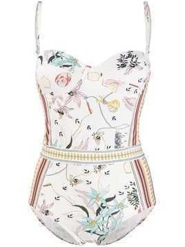 Tory Burch floral print swimsuit - Neutrals