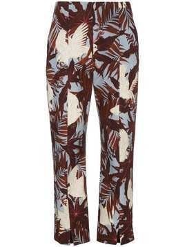 Erdem Slim cropped trousers with floral print - Blue