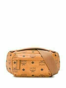 MCM logo print belt bag - Brown