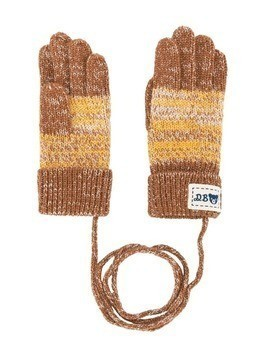 Miki House melange knit gloves - Brown