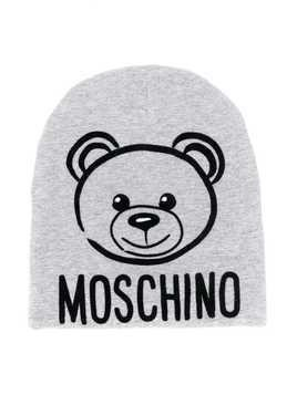Moschino Kids Teddy Bear print beanie - Grey