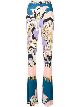 Emilio Pucci abstract print bootcut trousers - Multicolour