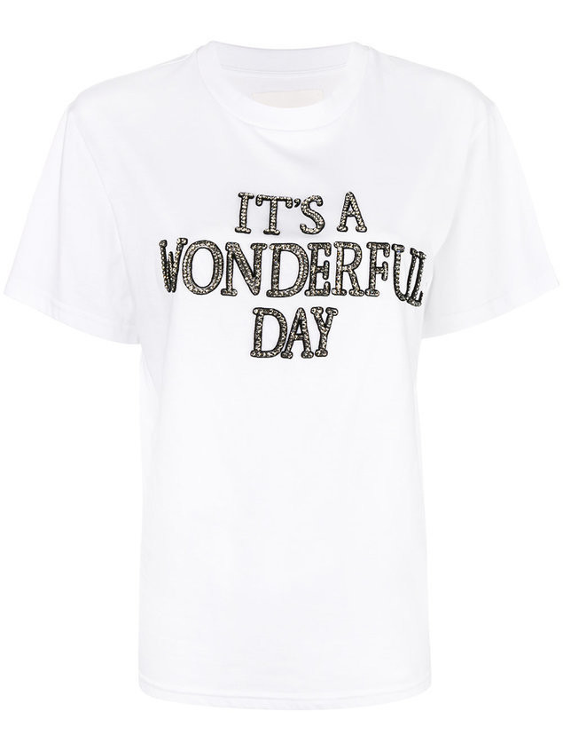 Alberta Ferretti slogan embroidered T-shirt - White