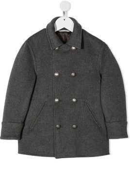 Brunello Cucinelli Kids short double-breasted coat - Grey