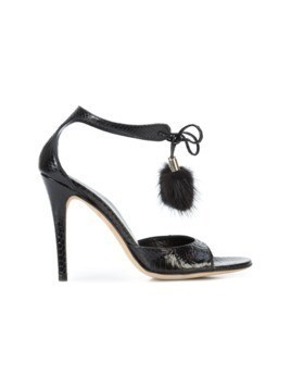 Gucci Vintage snakeskin effect pompom sandals - Black