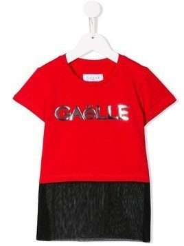 Gaelle Paris Kids logo panel T-shirt - Red