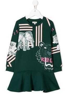 Kenzo Kids printed peplum dress - Green