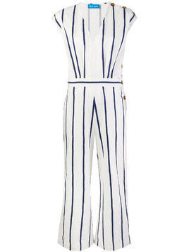 Mih Jeans side button jump suit - White