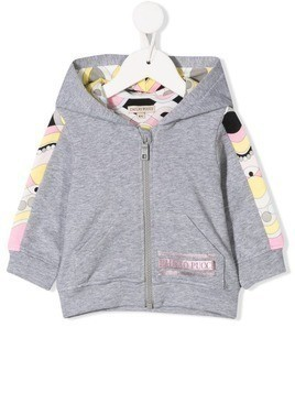 Emilio Pucci Junior pattern lined hoodie - Grey