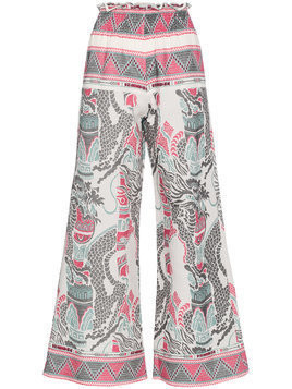 Celia Dragouni embroidered wide-leg trousers - PINK