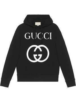 Gucci Hooded sweatshirt with Interlocking G - Black