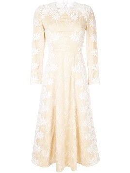 Huishan Zhang floral embroidered midi dress - Yellow