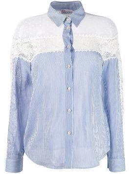 Red Valentino lace panels striped shirt - Blue