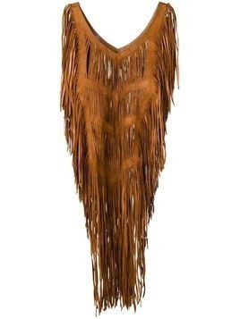 Caravana fringed leather top - Brown