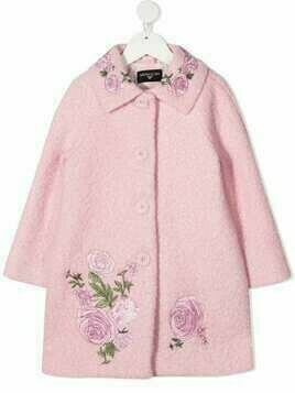 Monnalisa floral-embroidered single-breasted coat - Pink