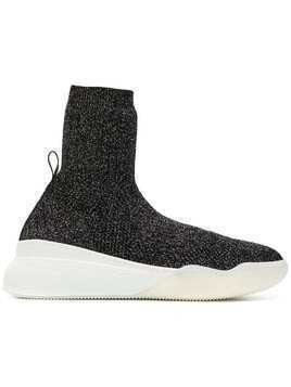 Stella McCartney metallic knit sock sneakers - Black