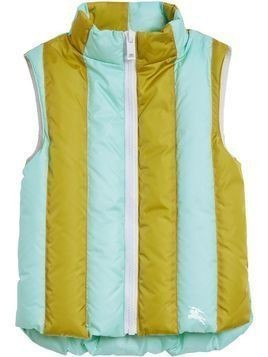 Burberry Kids Striped Showerproof Down-filled Gilet - Blue