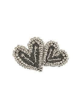 Rochas crystal-embellished heart brooch - White