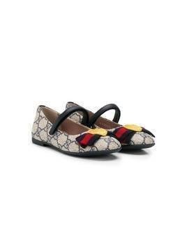 Gucci Kids heart detail monogram ballerinas - NEUTRALS