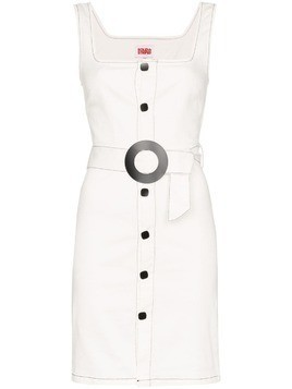 Solid & Striped button-down belted denim dress - White