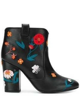 Laurence Dacade floral embroidered ankle boots - Black