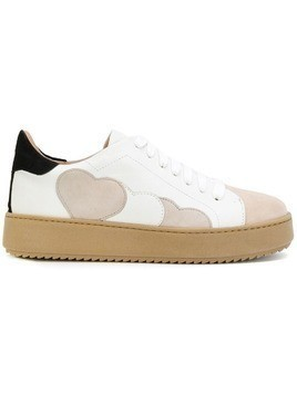 Twin-Set hearts patch platform sneakers - White