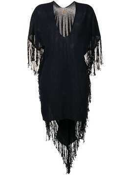 Caravana fringed asymmetric dress - Blue