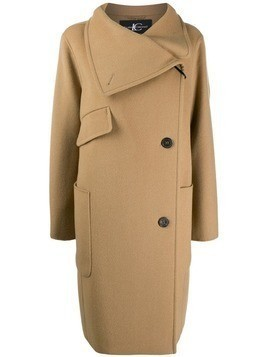 Luisa Cerano off-centre fastening coat - Neutrals