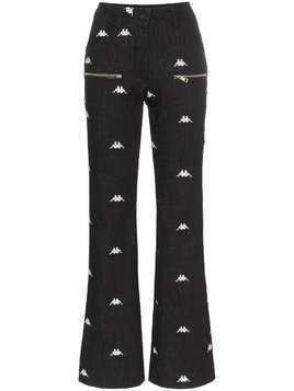Charm's x Kappa logo-embroidered flared jeans - Black