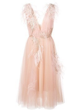 Marchesa feathered tulle layered dress - Pink