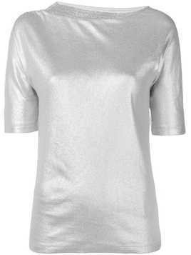Fabiana Filippi beaded neck metallic T-shirt - Silver