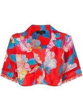 A Peace Treaty talla floral print tie shirt - Red